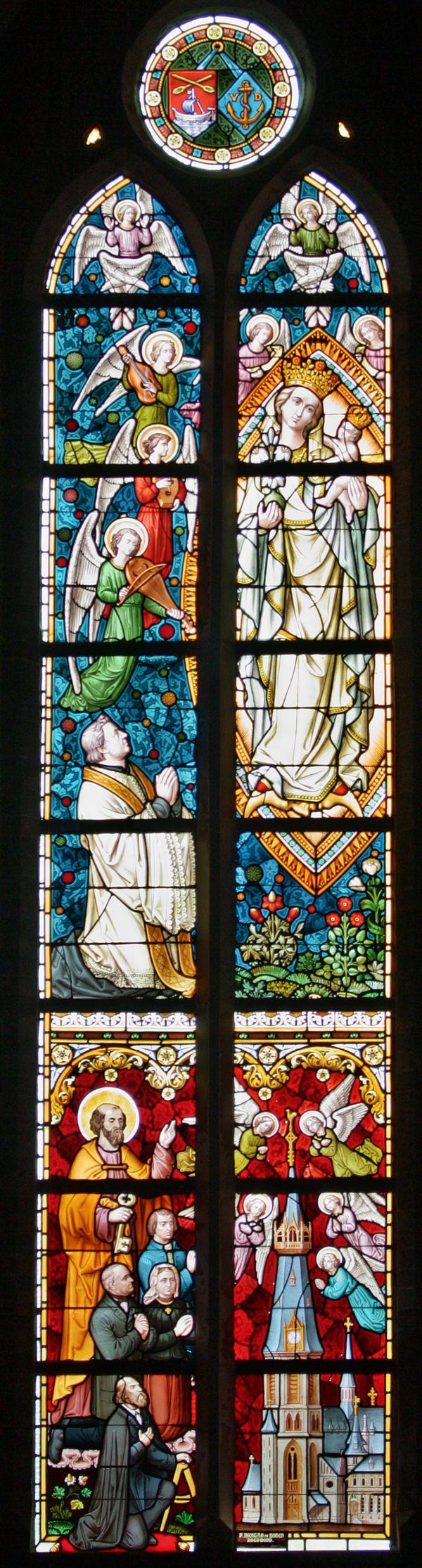 Glas-In-Lood Linksonder is architect Pierre Cuypers afgebeeld<br><br> 0400_Glas_in_lood_raam_1084.jpg