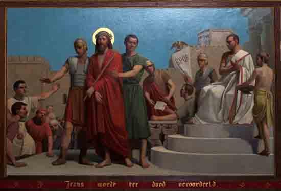 Kruisweg 1. Jezus wordt ter dood veroordeeld<br><br> 5001_Kruiswegstaatsies_4573.jpg