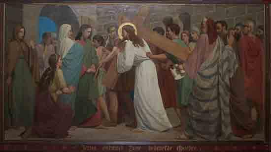 Kruisweg 4. Jezus ontmoet Zijne bedroefde Moeder<br><br> 5004_Kruiswegstaatsies_4579.jpg