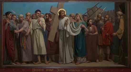 Kruisweg 6. Veronica droogt Jezus aanschijn met een doek<br><br> 5006_Kruiswegstaatsies_4583.jpg