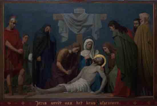 Kruisweg 13. Jezus wordt van het kruis afgenomen<br><br> 5013_Kruiswegstaatsies_4597.jpg