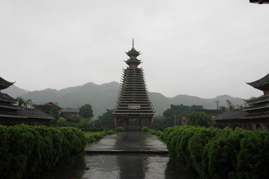 Sanboa Drum Tower in Sanboa Dong village in Chejiang Township bij Rongjiang - Guizhou China<br><br> 0820_1704.jpg