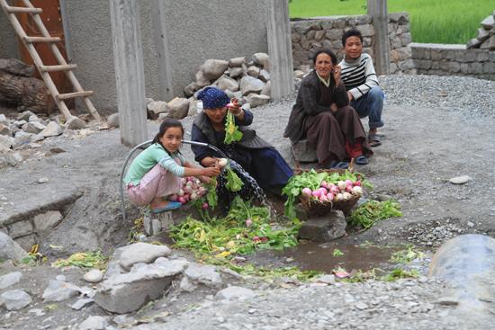Alchi Groenten wassen bij de dorpspomp<br><br> 2350-Alchi-Ladakh-4270.jpg