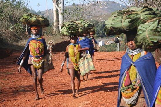 Adivasi-Tour5 Bonda women on the way to the weekly market in Sogura Bonda-vrouwen onderweg naar de weekmarkt in Sogura 2730_4964.jpg