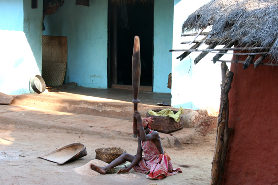 Adivasi-Tour8 Manual threshing of rice Handmatig dorsen van de mais 3270_5459.jpg