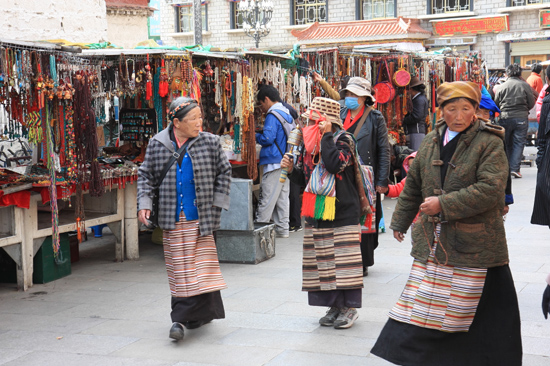 Pilgrims at the Barkhor near the Jokhang temple in Lhasa - Tibet-0960