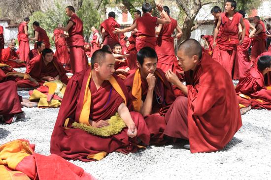 Debatterende monniken met handgeklap op de binnenplaats van het Sera klooster(1419)-1180